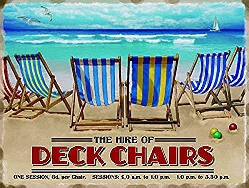 El Alquiler De of Mazo sillas. Day en la playa, arena, juegos y junto al mar. Antigua, retro, anuncio vintage para el hogar, cocina, salón, baño, tienda o café Metal/Cartel De Acero Para Pared - acero, 15 x 20 cm