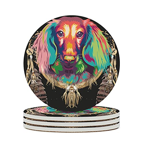 Wraill Posavasos redondos de cerámica multicolor con diseño de atrapasueños y atrapasueños, juego de 4 o 6 posavasos decorativos con dorso de corcho para vasos y tazas, color blanco