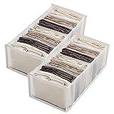 Jeans Compartment Storage Box Closet,2PCS Wardrobe Clothes Organizer,6/7Grid Folding Drawer Organizers,Clothes Drawer Mesh Separation Box (White,B)