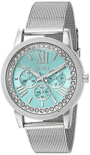XOXO Damen-Armbanduhr, Quarz, Metall und Legierung, Farbe: silberfarben (Modell: XO5899)