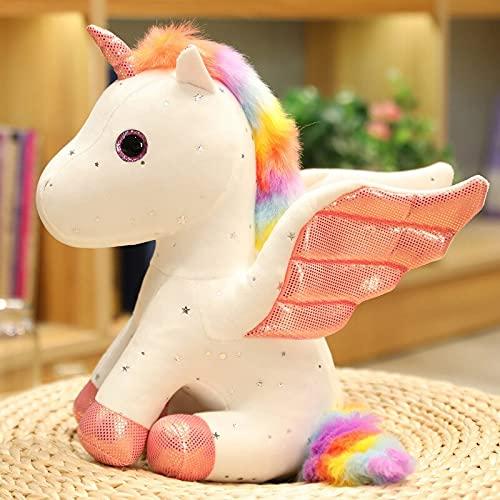 KXCAQ 22 cm-30 cm Lindo Unicornio muñeco de Peluche ángel muñeca Pegaso Unicornio Animal de Peluche de Juguete Almohada cojín niña Regalo de cumpleaños 22 cm Blanco