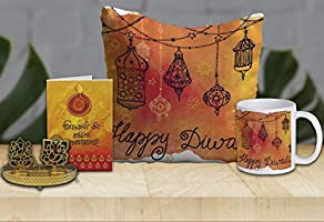 BRICK HOME Diwali Gift Hamper with Mug, Greeting Card & 12 X 12 in Cushion Cover with Filler & Shadow Diya