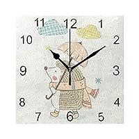 Chovy 掛け時計 おしゃれ 置き時計 北欧 正方形 静音 ハリネズミ アニメ かわいい 可愛い 壁掛け時計 サイレント 連続秒針 インテリア 置掛両用タイプ 四角 部屋装飾 子供部屋 プレゼント