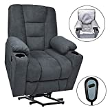 Maxxprime Upgraded Electric Power Lift Recliner Chair Sofa for Elderly, Extra Wide & Comfortable, Premium Thickened Fabric, 3 Positions, 2 Side Pockets & Cup Holders, Dual USB Ports (Midnight Blue)