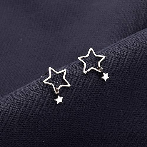 Pendientes para Mujer,Pendientes De Plata 925 con Estrella De Cinco Puntas Hueca A La Moda para Regalo De Joyería De Cumpleaños De Navidad Hombres Niñas