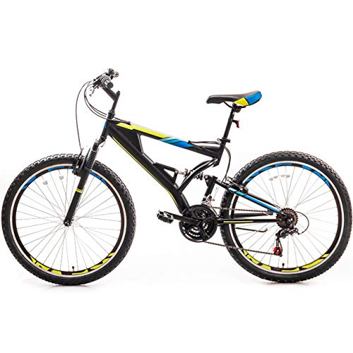 DERAILLEUR 26 Inch Mountain Bike with Full Suspension 21-Speed Aluminum Frame Bicycle(Yellow-Blue Cross)