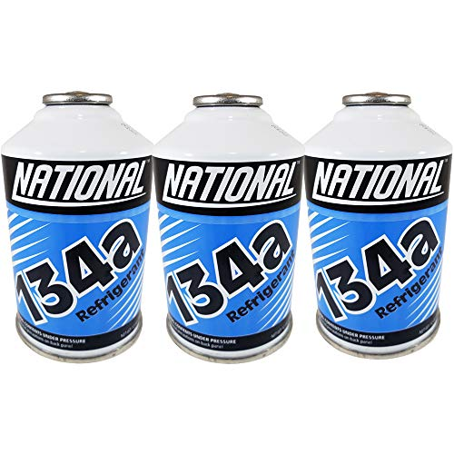 Chemours National Refrigerant R134a for MVAC use in a 12-Ounce Self-Sealing Container, Pack of 3