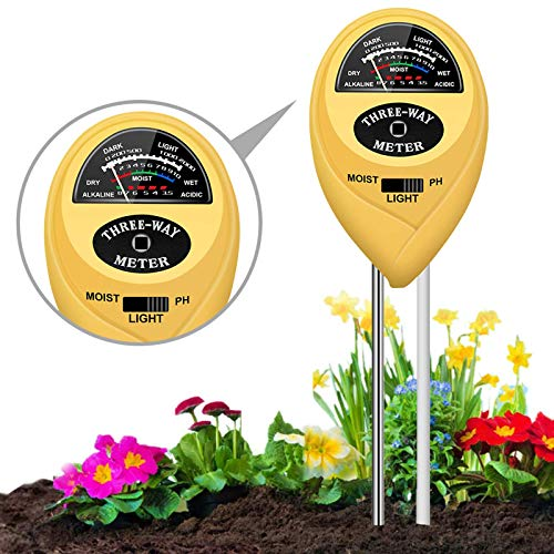 JeahoreKy Soil pH Meter, 3-in-1 Soil Test Kits with Moisture, Light and PH Tester for Plants, Garden, Farm, Lawn, Indoor & Outdoor/No Battery Needed