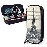 Estuche para lápices de cuero de la Torre Eiffel Estuche para lápices de gran capacidad Porta lápices grande Bolsa de maquillaje Cremalleras dobles s Es