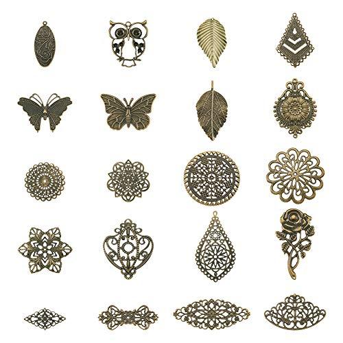 PandaHall 120pcs Iron Filigree Connectors Charms Anhänger Mixed Shapes Antike Bronze-Verzierungen für die Schmuckherstellung