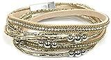 Armband Damen Wickelarmband Schmuck doppelt Magnetverschluss Perlen Nieten Kette geflochten Strass Glitzer Metallic (Gold)