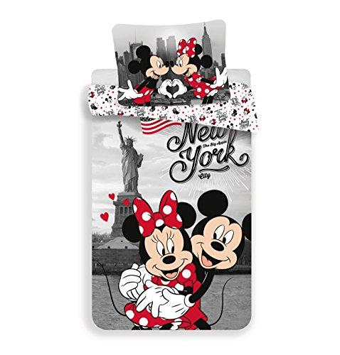 Jerry Fabrics Mickey & Friends CharacterKinderBettwäsche mit Reißverschluss;Bettbezug 140 x 200 cm & Kissenbezug 70 x 90 cm, Baumwolle, Multicolored, 200 x 140 x 0.5 cm, 1 Einheiten