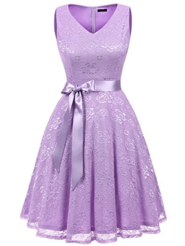 IVNIS RS90025 Damen Ärmellos Vintage Spitzen Abendkleider Cocktail Party Floral Kleid Lavender XL