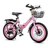 Xiaoping Bicicleta para niños Plegable Bicicleta de montaña Velocidad 20 Pulgadas 6-8-10 años Bicicleta de niña Chico (Color : Pink)