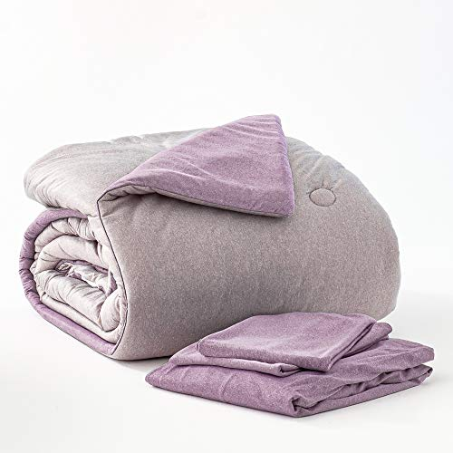 Dawn All-U-Need Bed-in-a-Bag Comforter Set | Full/Queen | 4-Piece Bedding Bundle with Reversible Comforter, Fitted Sheet and Pillowcase(s) | Grey & Lavender Jersey | Velvety Soft Microfiber