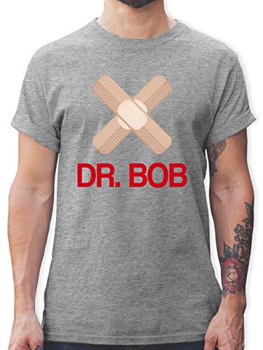 Karneval & Fasching - Dr. Bob Kostüm Pflaster - XL - Grau meliert - Karneval - L190 - Tshirt Herren und Männer T-Shirts