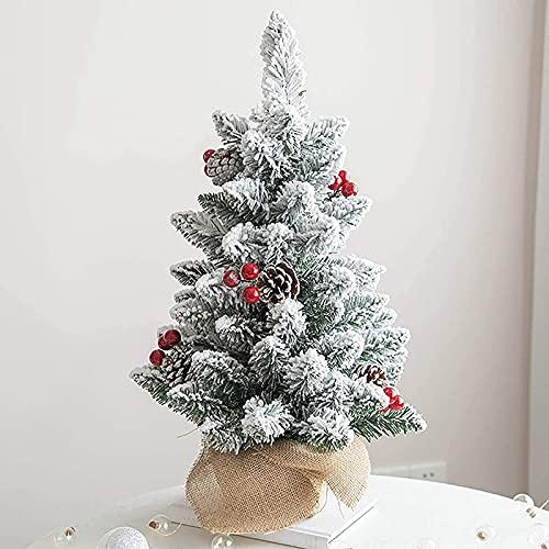 Árbol de Navidad artificial Pequeño árbol de Navidad cubierto de nieve con cono de pino y bayas con base de arpillera, árbol de Navidad de pino artificial de mesa para oficina Mini árbol de Navid