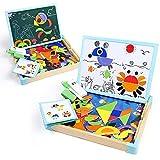 Puzzle Madera Rompecabezas Magnetico Juguetes-125 Piezas Tangram Animal Puzzle Tabla de Dibujo Pizarra Magnetica Infantil con Caja Regalo Juegos Educativos Niños Niñas 3 4 5 Años