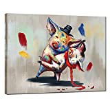 sechars - Funny Animal Wall Art Lovely Pigs in Dancing Painting Art Print on Canvas Modern Living Room Bedroom Decor Abstract Animal Poster Stretched and Framed Ready to Hang
