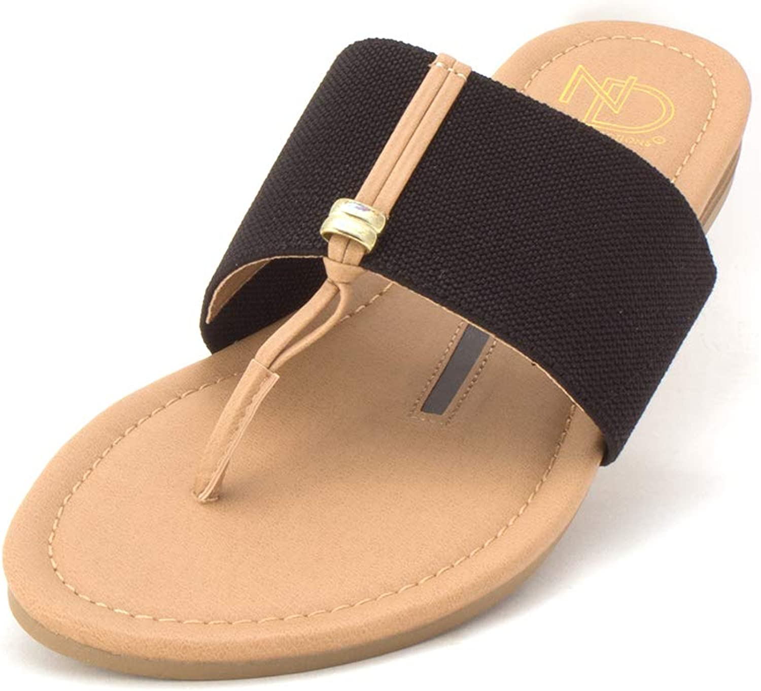 New Directions Womens Felicia Fabric Split Toe Casual Slide Sandals