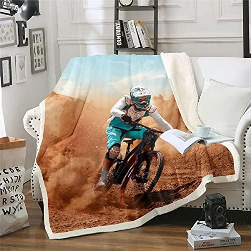 Loussiesd Cyclist Fleece Throw Blanket for Bed Sofa Mountain Bike Plush Blanket Decorative Bicycle Rider Sherpa Blanket Modern Extreme Sport Warm Fuzzy Blanket King 87x94 Inch