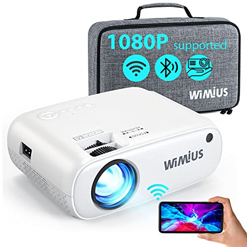 WiFi Projector Bluetooth, W2 6500L Mini Projector Support 1080p Full HD and 250'' Display, Portable Projector with 50% Zoom Function, Home Cinema Projector Compatible with iOS, Android, TV Stick, PS4