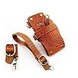 LNLW Estilista de cuero de cuero de tijera bolsa de la pistolera con la correa for titular caso de tijeras de peluquería Shear cintura empaqueta
