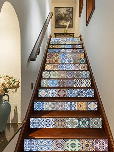 FLFK 3D Self-Adhesive Tile Stickers Stair Mural Vinyl Kitchen Bathroom Decal 39.3