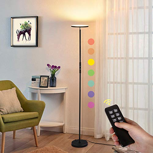 Albrillo LED Deckenfluter Stehlampe - 20W Stufenlos Dimmbar LED Stehleuchte mit RGB und Fernbedienung, 3000K-5000K, 3 Farbe Modi, Modern Farbwechsel Standlampe für Wohnzimmer Schlafzimmer, Schwarz