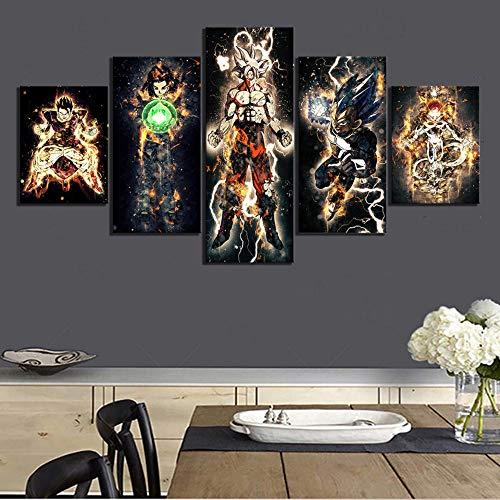 ukooo Canvas foto 5 draak bal animatie muur kunst print moderne modulaire poster woonkamer huisdecoratie