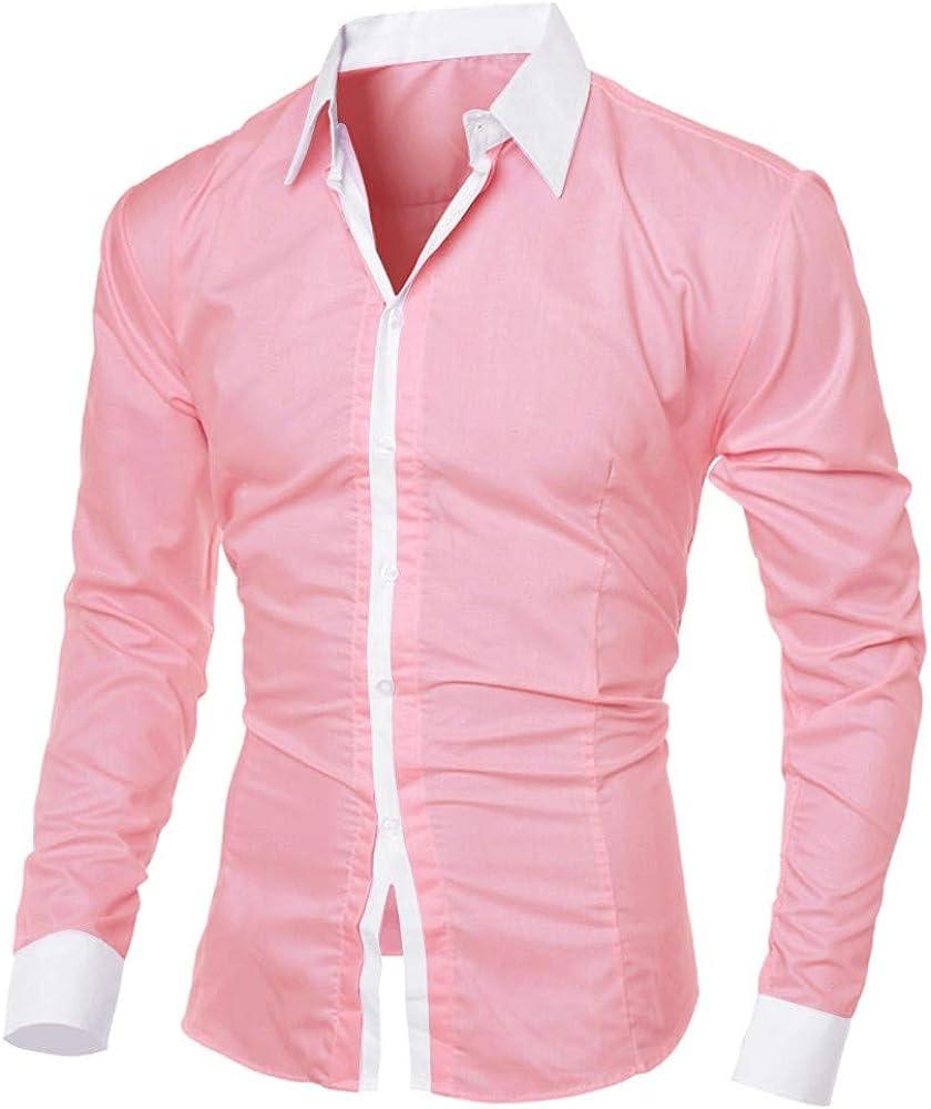 DZQUY Men's Casual Slim Long Sleeve Dress Shirts Plaid Collar Button Down Business Work Shirts Tops Blouse