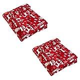 DII Printed Fleece Reversible Throw Blanket, 50x60, Reindeer 2 Count