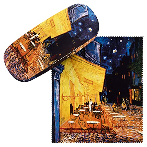 VON LILIENFELD Brillenetui Vincent van Gogh: Nachtcafé Kunst Motiv Etui Brille Mikrofaser Brillenputztuch Brillenbox Stabiles Hardcase Set mit Stoff bezogen