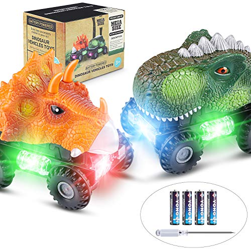 Tencoz Dinosaur Cars, Kids Dinosaur Vehicles Set with LED Light Monster Sound Animal Car Toys for Toddlers Boys Girls Age 3-8 (2 Pack)