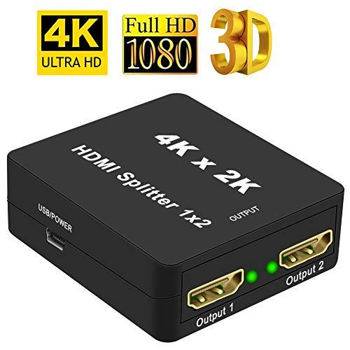 HDMI Splitter Snxiwth 4K HDMI Verteiler 1 in 2 Out Unterstützt HDCP, 4K, 3D, UHD, 1080P, HDMI Splitter 1 auf 2 für Xbox, PS4, PS3, Blu-Ray-Player, Firestick, HDTV