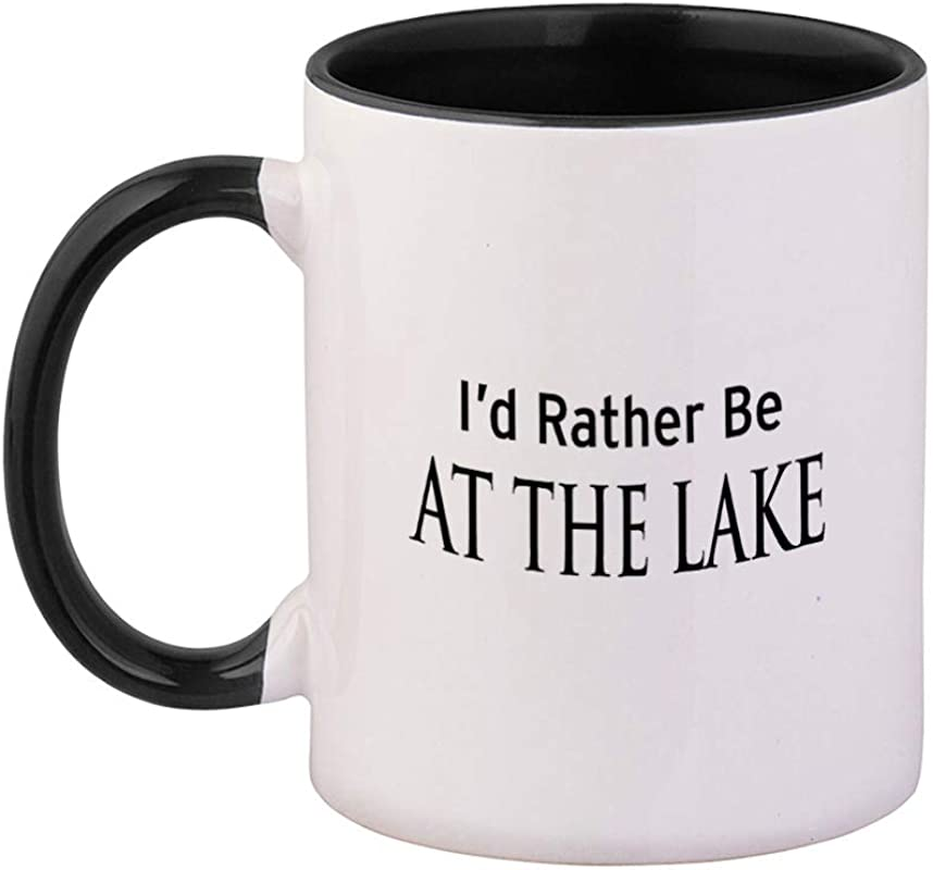 Style In Print Black I D Rather Be At The Lake Ceramic Cup Colored Mug Black