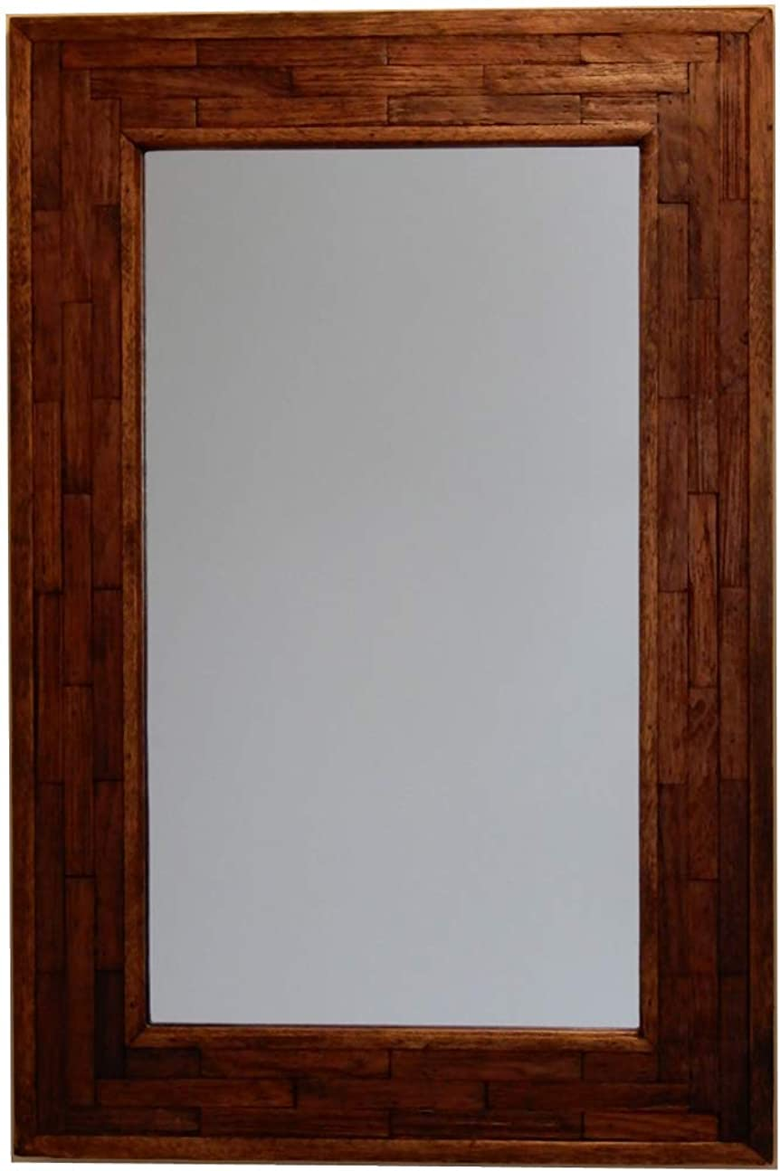 競争力のあるスキャンダル血統木製壁掛け鏡?ウォールミラー【JHAアンティークミラー】ウッディ?レトロモダン(アカシア古木)組み木(M)W400×H600(ブラウン)AT-9-BR 木枠ミラー 店舗