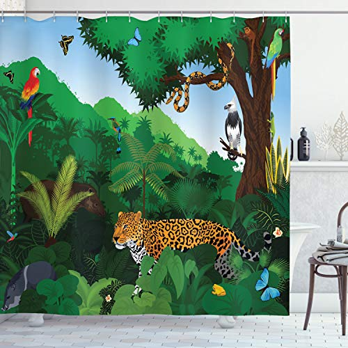 ABAKUHAUS Jaguar Duschvorhang, Exotische Vögel mit Schlangen, mit 12 Ringe Set Wasserdicht Stielvoll Modern Farbfest & Schimmel Resistent, 175x180 cm, Mehrfarbig