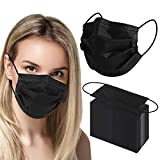 4ply Black Disposable Face Mask Medical Grade 100pcs, Breathable Face Mask With Metal Nose Wire, Health Mask For Adults Family Personal Care And Hospital Use For Dental Nurses