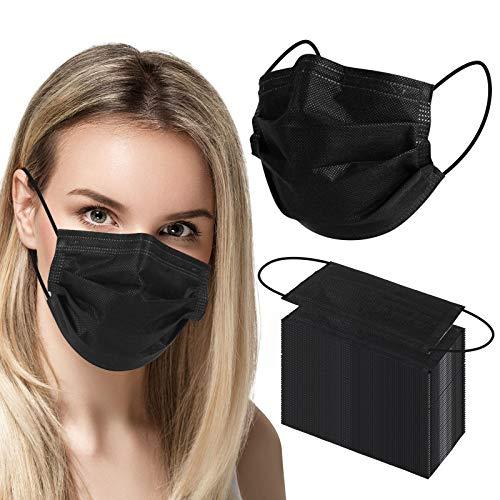 Mundschutz Masken schwarz 50 Stück, Medizinische Gesichtsmaske Einweg, 4-lagige Gesichtsschutzmasken, Atemmaske, Mund- und Nasenmaske mit einstellbarer Ohrschlaufe und Nasenstreifen