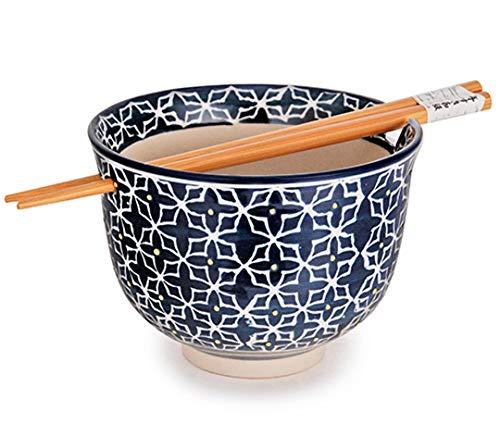 Happy Sales HSRB-HNABLU, Ramen Udon Noodle Soup Cereal Bowl w/Chopsticks, Blue Henna