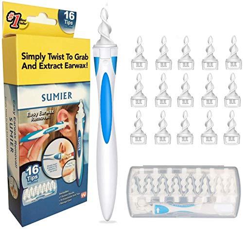 Limpiador de Oídos,Limpia Cera Oidos Q grips Cera Oidos,Kit de limpieza Para Oídos, Sistema Espiral Inteligente, con Mango y 16 Puntas Lavables, Seguro y Suave