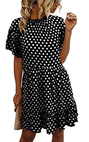 Spec4Y Kleider Damen Sommer Kurz Polka Dot Sommerkleider T-Shirt Kleider Swing Plissee A Linie Minikleid Schwarz Large