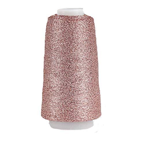 Rose Gold Sparkle Accessory Yarn Metallic Yarn Shining Glitter Yarn Crochet Knit Thin Thread Yarn for Sweater Shawl Doll Craft Yarn 50 Gram