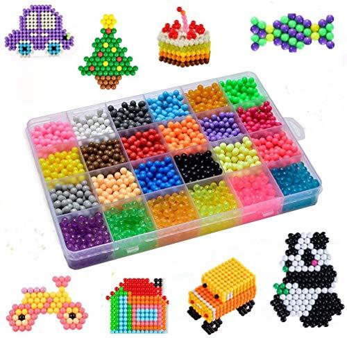 Haice Wasserperlen Komplettes Zubehör inklusive 24 Farben, 3000 Perlen Nachfüllset mit Regelmäßige Größe Perlen kompatibel ist Bastelset Designer Kollektion für Kinder mit Kristallperlen