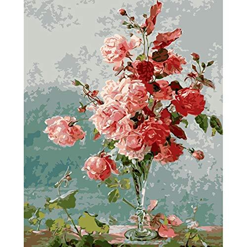 Olieverfschilderij om te knutselen, digitaal, voor kinderen en volwassenen, voor het beschilderen van cijfers, Home Decor - vaas, roze 40x50cm