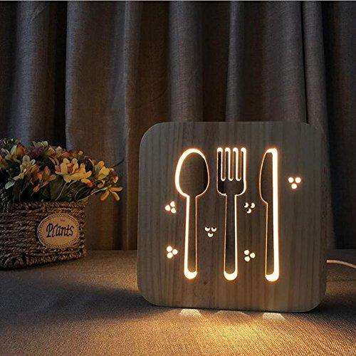 OOFAY Night Light@ 3D Illusion Lampe LED Veilleuse Créatif Vaisselle Lumières Sculpture Art du Bois Lampe De Tableau/Lumière d'alimentation D'usb+Ligne De Données(avec Interrupteur)