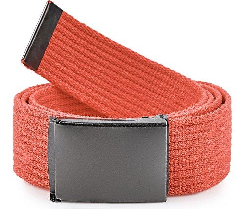 Ladeheid Cinturón en Tejido para Hombre P10 (Naranja-Grafito, 120 cm (Largo total 130 cm))