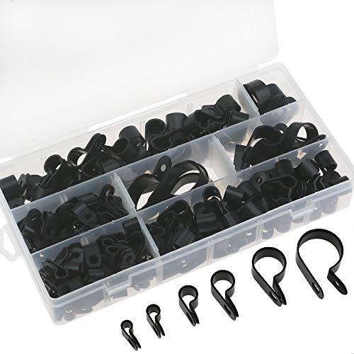 200 Stück schwarze Nylon R Clips Schraubbefestigung Kabelklemmen Typ P Drahtklemmen Kabelklemmen für die Kabelführung