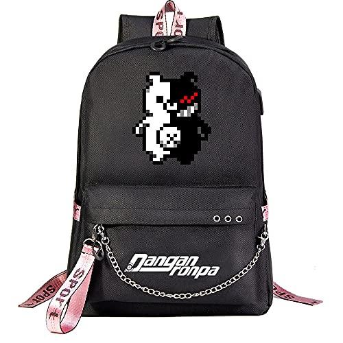 ZZGOO-LL Anime Movie Animal Cartoon Bear with Chain USB Anime Laptop Backpack Bag Travel Mochilas Daypacks Bolso Ligero Black-E